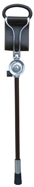 Seat cane WALES height adjustable 77 - 97 cm, light metal, leather brown