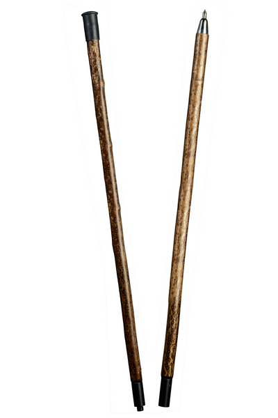 Alpenstange hazelnut, stable walking stick made from bark-hazel hazelnut wood, divided into two parts by means of steel thread, including steel tip.