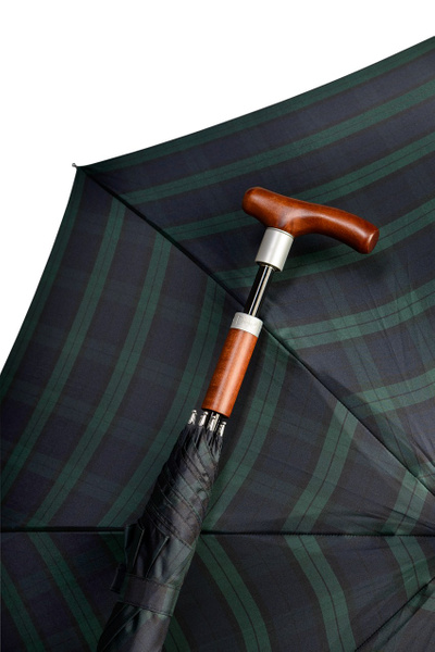 SAFEBRELLA DUO checked pattern brown, small, umbrella and walking stick – image 1
