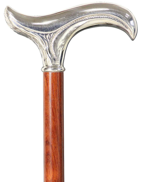 Walking stick FLORENZ , silverplated Fritz-grip, noble bubinga wood – image 1