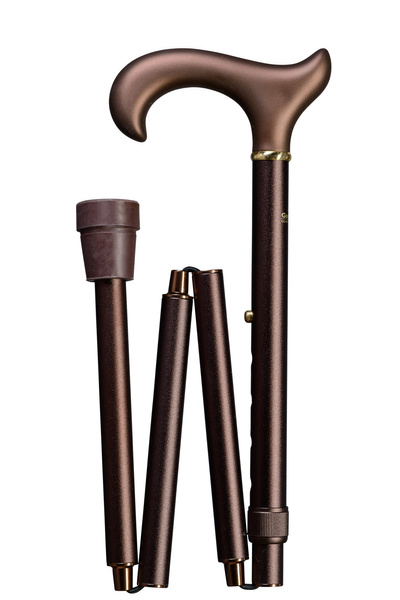 Folding cane Softgrip-Ergonomic, bronce-matt XL,  ergonomic derby handle, height adjustable from 95- 105 cm, including rubber buffer – image 1