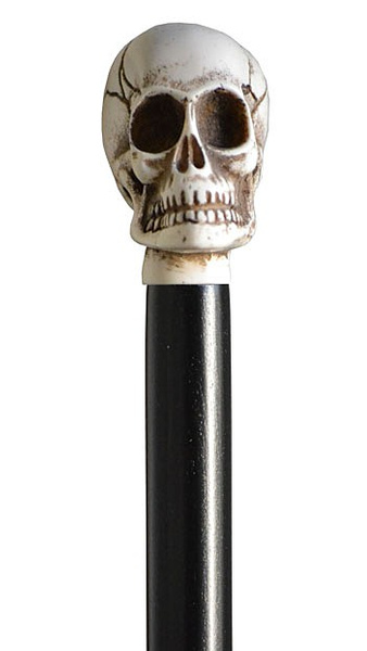 Knobstick GOTHIC, a death's head in ivory imitation, black beech wood