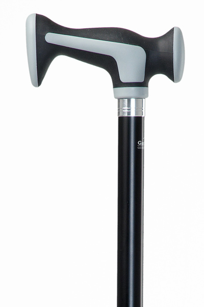 Design walking stick SUPERSOFT ESCORT sturdy and comfortable handle made of plastic with soft rubber material and cushioning pads, mounted on a stick made of sturdy light metal, height adjustable, including special buffer.