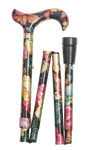 foldable cane ELITE COLOR ROSES height adjustable walking stick