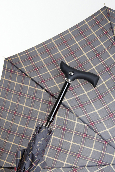 Umbrella STEPBRELLA for shoring, automatic and adjustable for height, checked pattern grey/ bordeaux/ beige – image 1