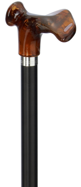 Design walking stick softgrip derby COMFORT AMBER anatomical RIGHT / LEFT, anatomical handle, stick made of sturdy light metal, black satin finish, height adjustable, incl. Special rubber buffer – image 1
