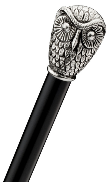 Walkingstick OWL, knob handle of solid silver pewter with a Owl-head, black silk gloss hardwoodcane, elegant rubberbuffer – image 1