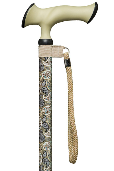 Walking Stick Super Soft Escort Ergonomic Durable ergonomic & comfort Handle made of Plastic with Soft Rubber Material and cushioning Pads attached to a Stick made from Light Metal with Modern Paisley - height adjustable – image 1