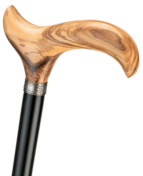 Olivia, Olive Wood, Real Fine Grain Derby Handle Walking Stick with Silver Ring Attached to an Black Lacquered Beech Wood Stick, with stylish Rubber Buffer. – image 1