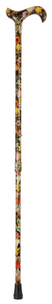 Walking Stick Fashion Derby NATIONAL GALLERY BOSSCHAERT, elegant Derbygrip made of acrylic, mounted on a stick made of sturdy light metal with pattern of a painting by Bosschaert, height adjustable, including slim rubber buffer. – image 2