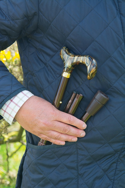Walking stick design - Folding stick PEARL, height adjustable from 82 cm-92 cm, handle in mother of pearl. Optics, stick light metal glossy brown with rubber buffer – image 2