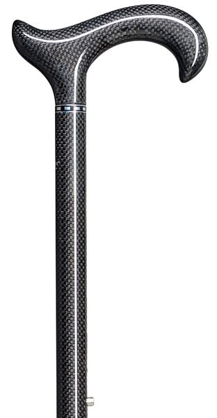Walking Stick Carbon Derby ERGONOMIC, comfortable derby grip made of carbon, anthracite, mounted on a stick made of light carbon, anthracite checkered, height adjustable including slim rubber buffer. – image 1