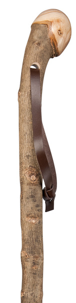 Walking Stick Hiking Stick Root Handle SILVERESCHE, noble knob made of European ash wood, root side hand polished, bark-proof and semi-gloss lacquered, including leather carrying strap and metal tip.