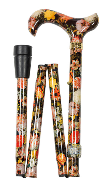 Design folding Cane BOSSCHAERT colored, colorful, fashionable, height-adjustable, Derby handle, light metal, noble brass ring, ladies and gentlemen, rubber buffer.