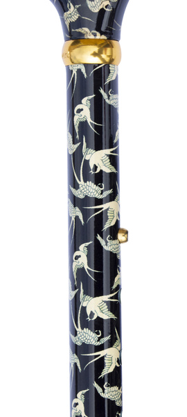 Design folding Cane SWALLOW colored, fashionable, height-adjustable, Derby handle, light metal, noble brass ring, ladies and gentlemen, rubber buffer. – image 2