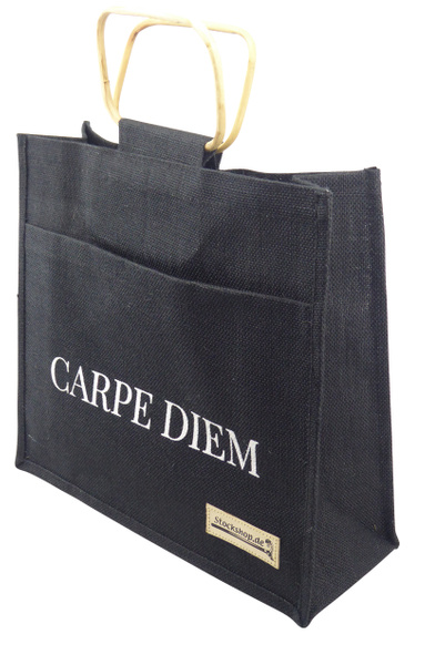Stock Shop CARPE DIEM Gift Wrap Jute Bag black with sturdy wooden handles for drinking sticks, folding sticks, flipstick